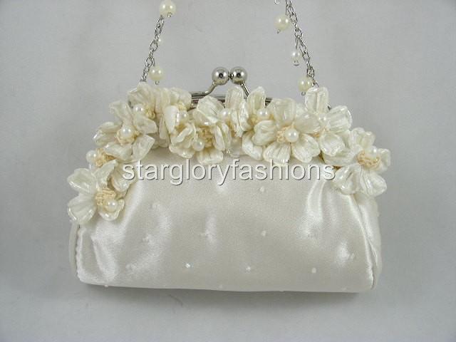 Cute Ivory/Cream Flower Pearl Wedding Prom Clutch Purse EF 087169