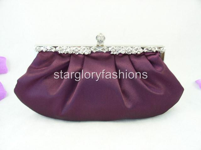 Victorian Jeweled Purple Satin Wedding Purse Clutch ECR 068165