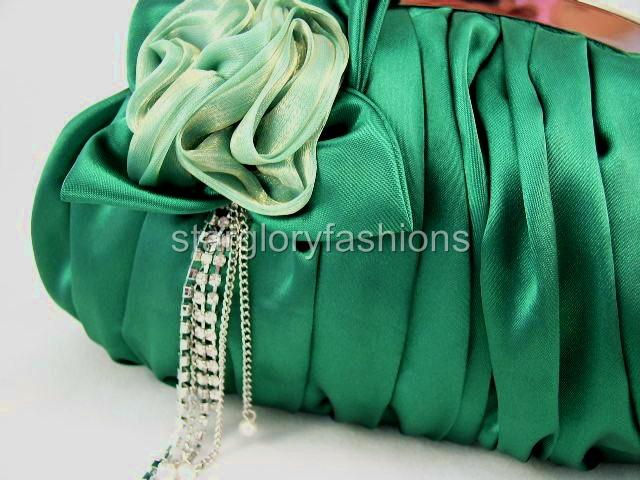 Emerald Green Wedding/Prom Clutch Jewel Crystal Tassel