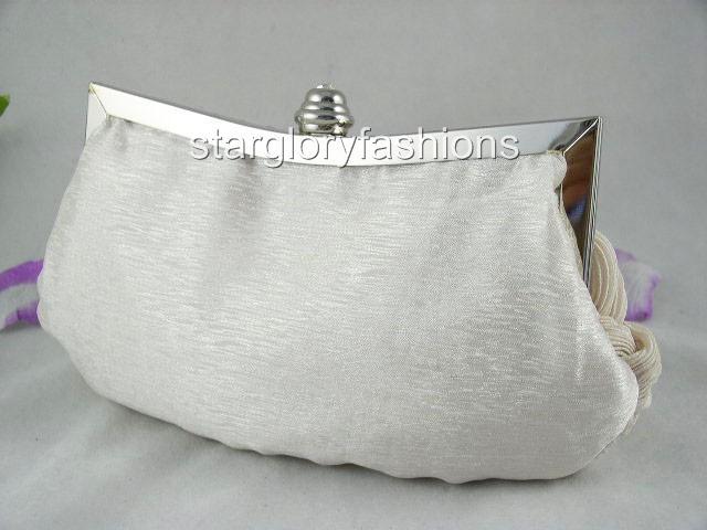 Weaved Satin Crystal Frame Wedding Clutch Bag 10 Colors