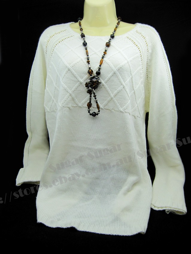 New-Big-Size-Ladies-Knitted-Cardigan-Sweater-Jumper-Cream