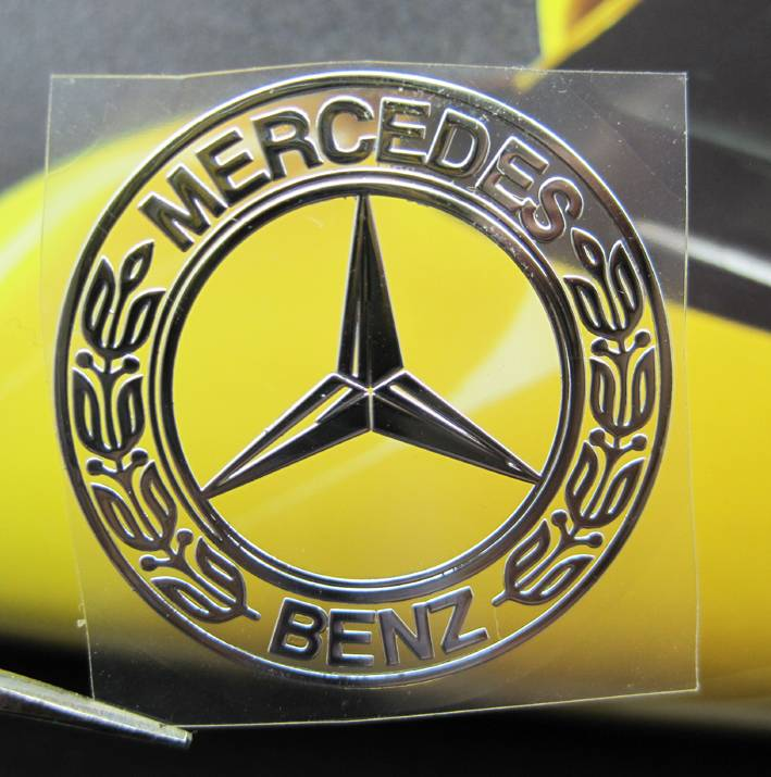 Mercedes benz round nickel metal car mobile emblem thin for Mercedes benz badges for sale