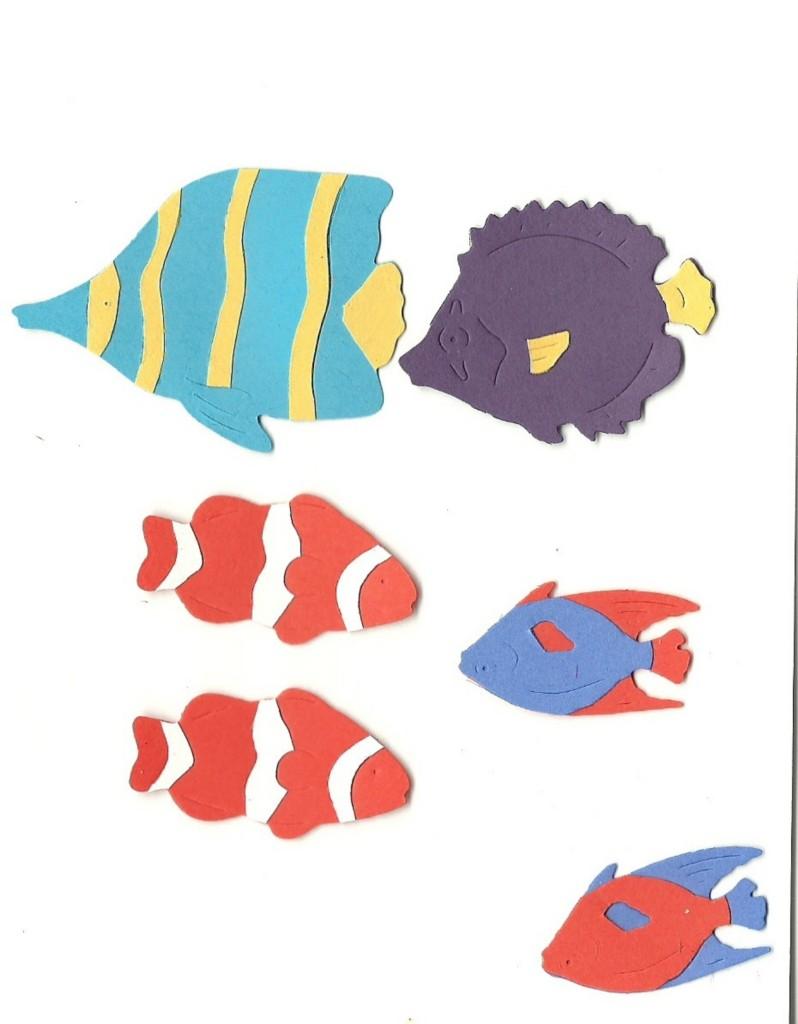 Lot Of 6 Sizzix Tropical Fish Die Cuts