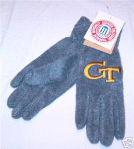 Georgia Tech Ladies Grey Lightweight Fleece Gloves NWT