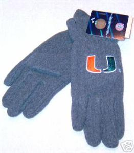 Miami Hurricanes Ladies Lightweight Grey Fleece Gloves