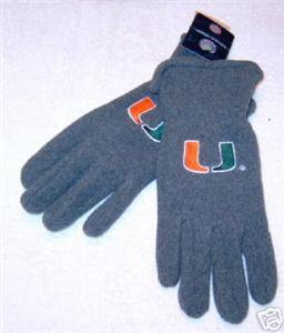 Miami Hurricane Mens Lightweight Grey Fleece Gloves NWT