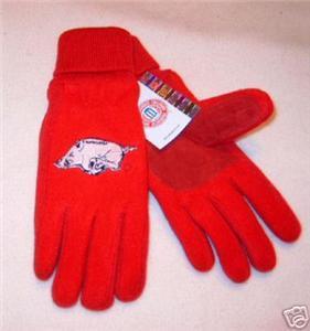 Arkansas Razorbacks Ladies Lined Fleece Gloves Medium