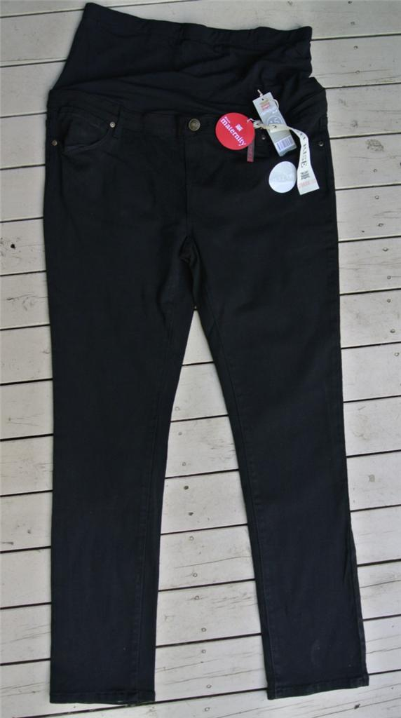 RIVERS-Black-Denim-Jeans-Pull-on-MATERNITY-Stretch-Size-14-NEW-Straight-leg