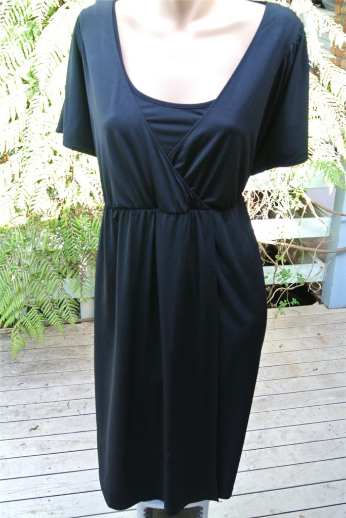 AUTOGRAPH-Evening-Party-Dress-Black-Wrap-Bodice-Size-18-NEW-RRP-89-99