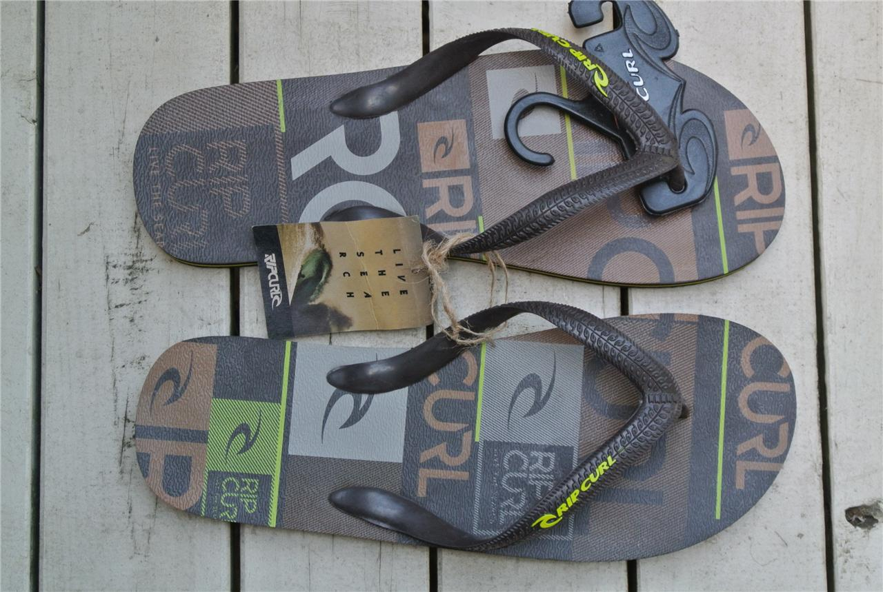 New-RIPCURL-Logo-Surf-Thongs-Mens-Size-9-Double-Plug-THONGS-BROWN-Tan-Lime