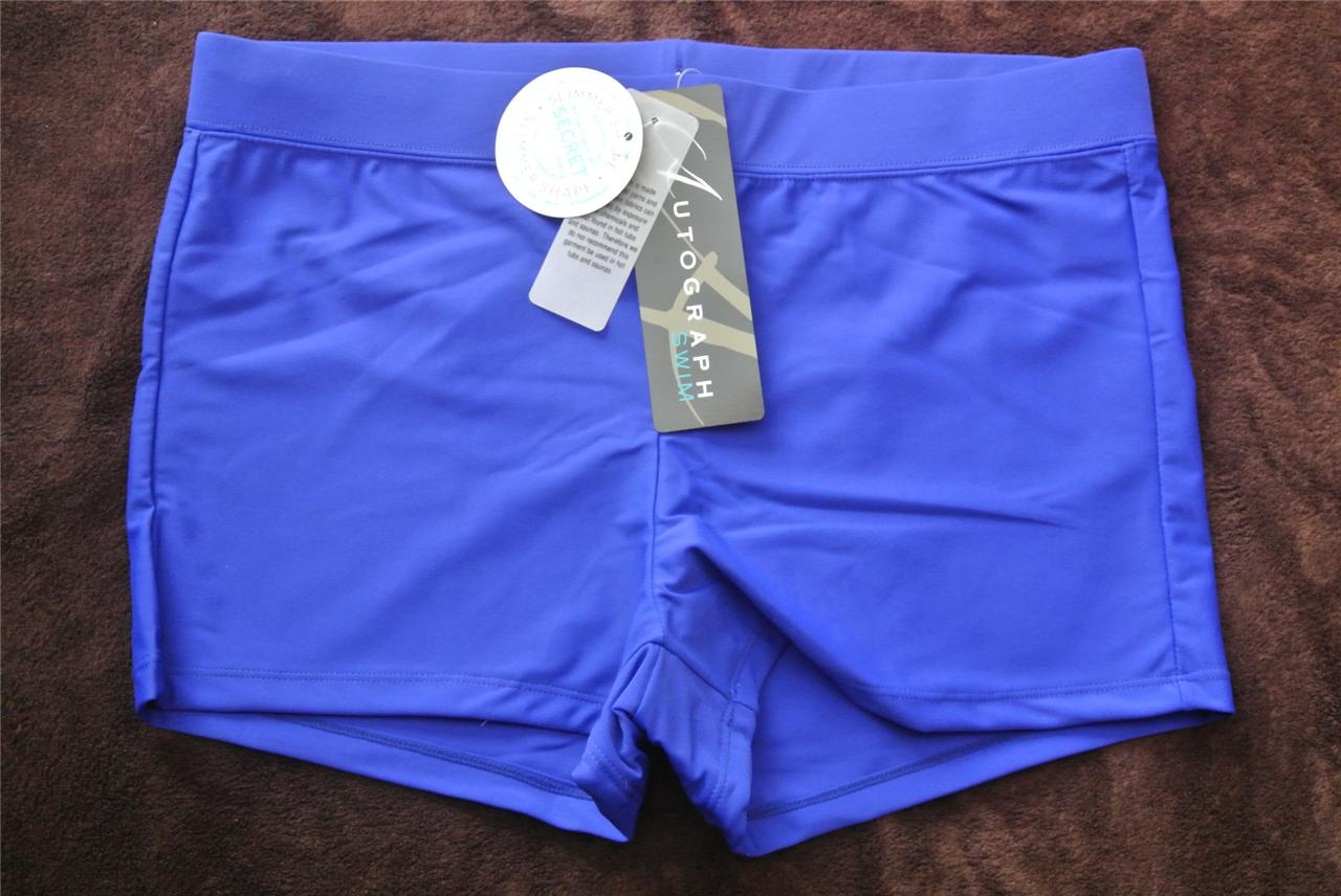 Autograph-NEW-Size-16-BLUE-BOY-LEG-Swimsuit-BRIEF-BOTTOMS-Slimming-Mesh-Panel