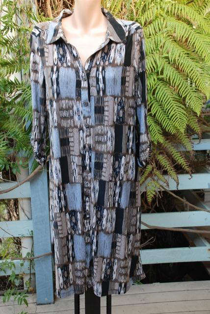 SuzanneGrae-Graphic-Print-DRESS-Size-L-NEW-69-95-Donkey-Brown-Grey-3-4-Slve