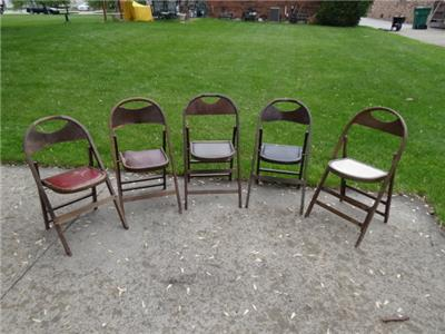5 Vintage Wooden Wood Folding Chairs MADE BY B J HARRISON Funeral Home EBay