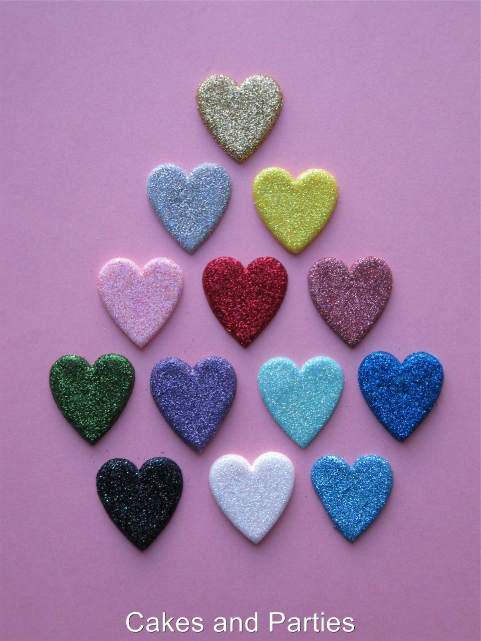 20xEDIBLE GLITTER HEARTS CAKE DECORATIONS VARIOUS ...