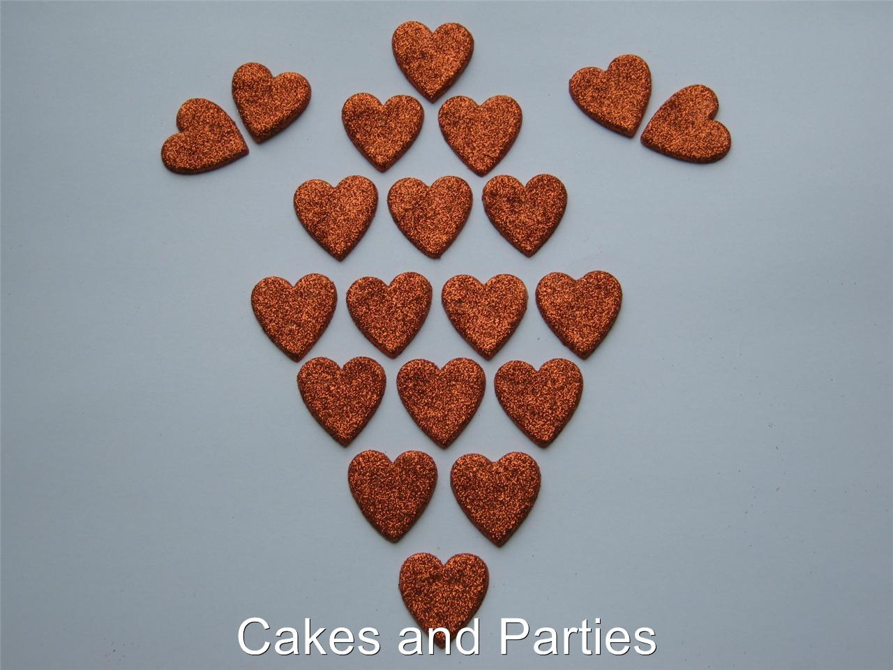 20xEDIBLE GLITTER HEARTS. CAKE DECORATIONS - VARIOUS ...