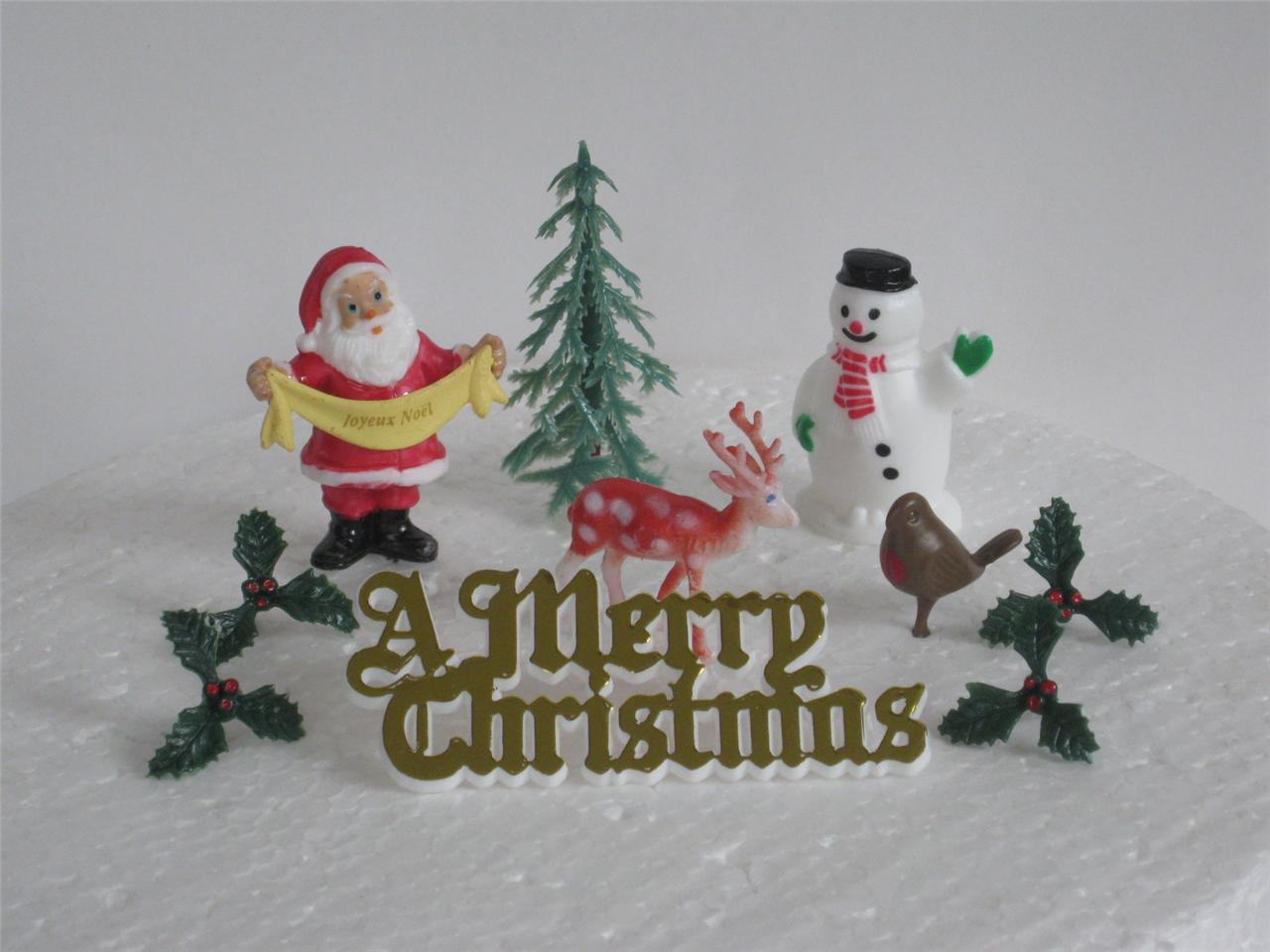 CHRISTMAS - TRADITIONAL SET OF XMAS CAKE DECORATIONS ...