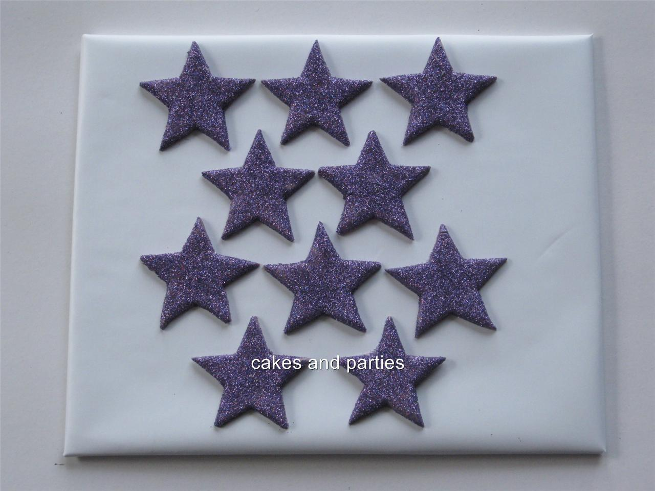 Edible Cake Decorations Stars : 10xEDIBLE GLITTER STARS. CAKE DECORATIONS - VARIOUS ...