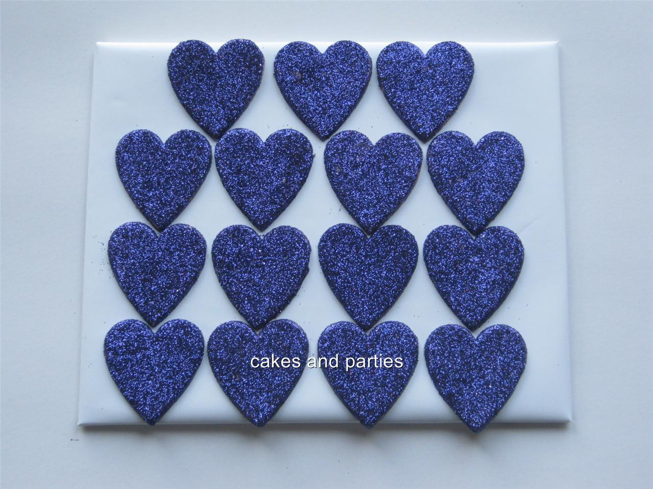 15xEDIBLE GLITTER HEARTS. CAKE DECORATIONS - VARIOUS ...