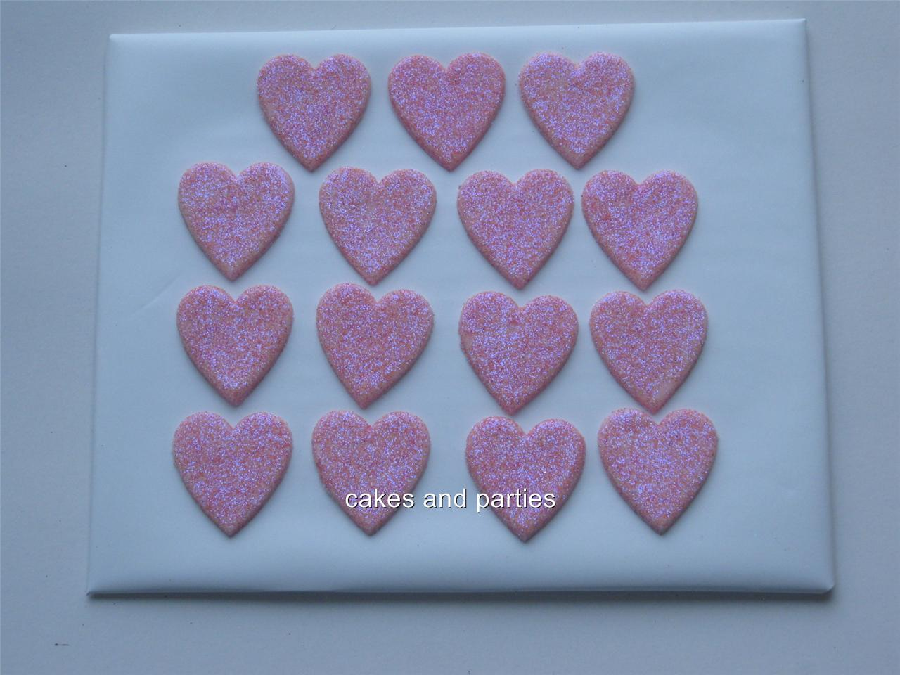 Cake Decorations Edible Glitter : 15xEDIBLE GLITTER HEARTS. CAKE DECORATIONS - VARIOUS ...