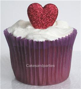 Edible Cake Decorations Hearts : EDIBLE RED GLITTER HEARTS. CAKE DECORATIONS - SMALL 2cmx...