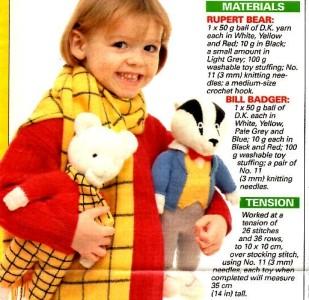 ALAN DART ~ RUPERT THE BEAR & BILL BADGER TOY DOLL Knitting Pattern