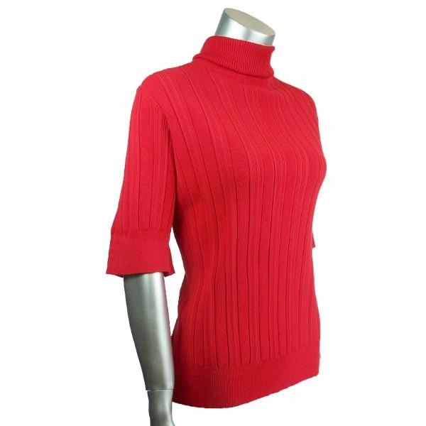 Sutton Studio Womens Red Rib Knit Turtleneck Sweater