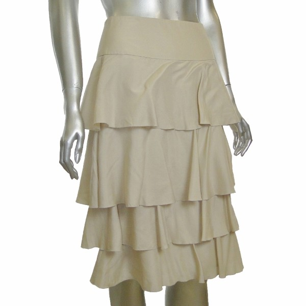 sutton studio womens silk tiered ruffle layer skirt ebay