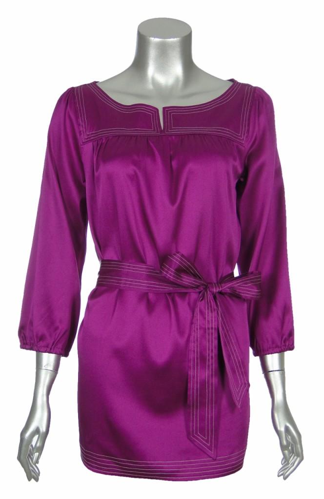 Sutton Studio Womens Red Purple Blue Green Silk Split Neck