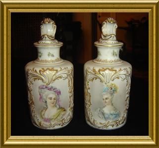 ANTIQUE-PAIR SEVRES PORCELAIN MADAME POMPADOUR,MARIE ...