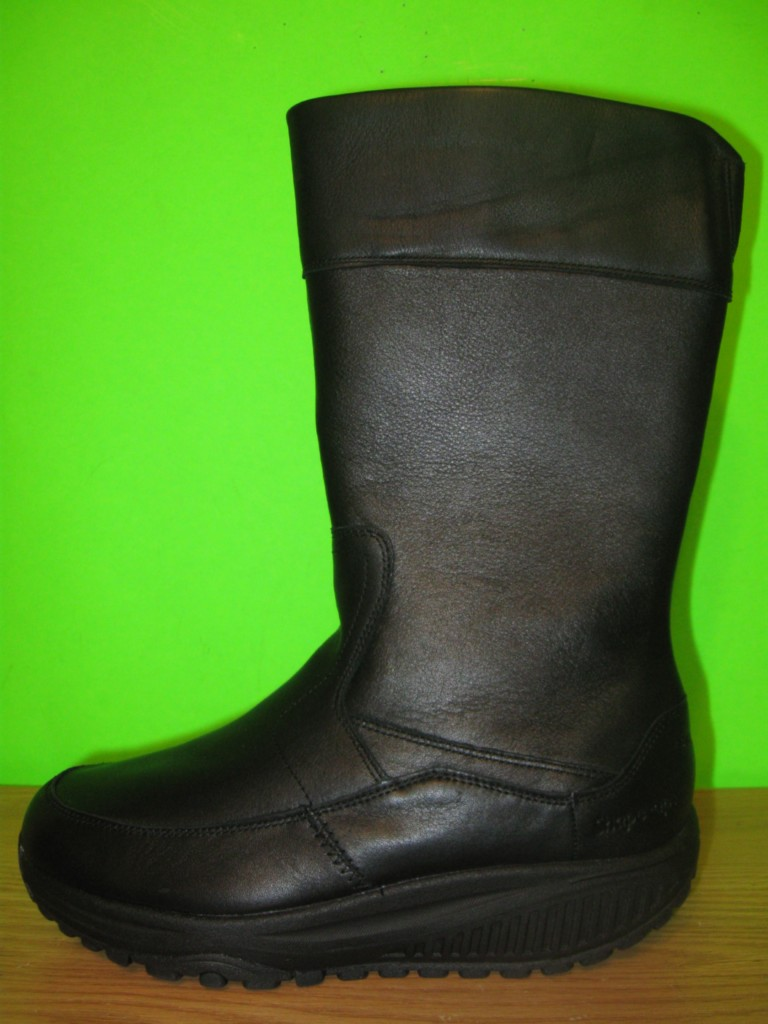 New-SKECHERS-Shape-Ups-Black-Leather-Winter-Zip-Up-Boots-Shoes-Womens-6-8-5
