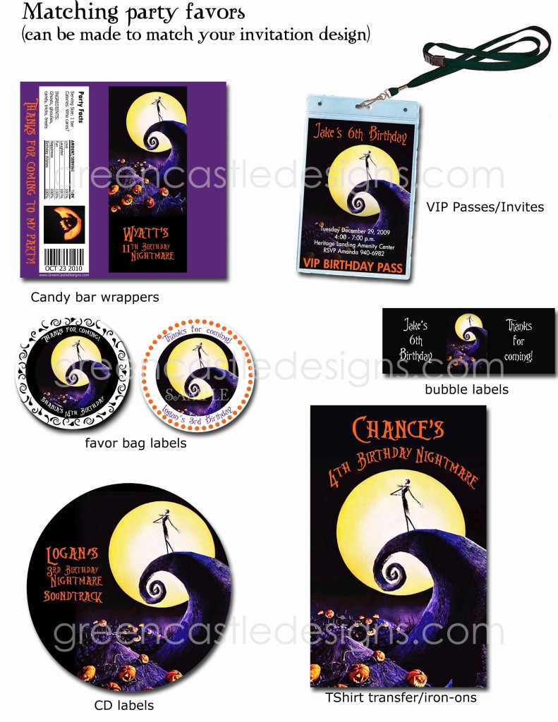 Halloween Invitation 12 The Nightmare Before Christmas Birthday ...