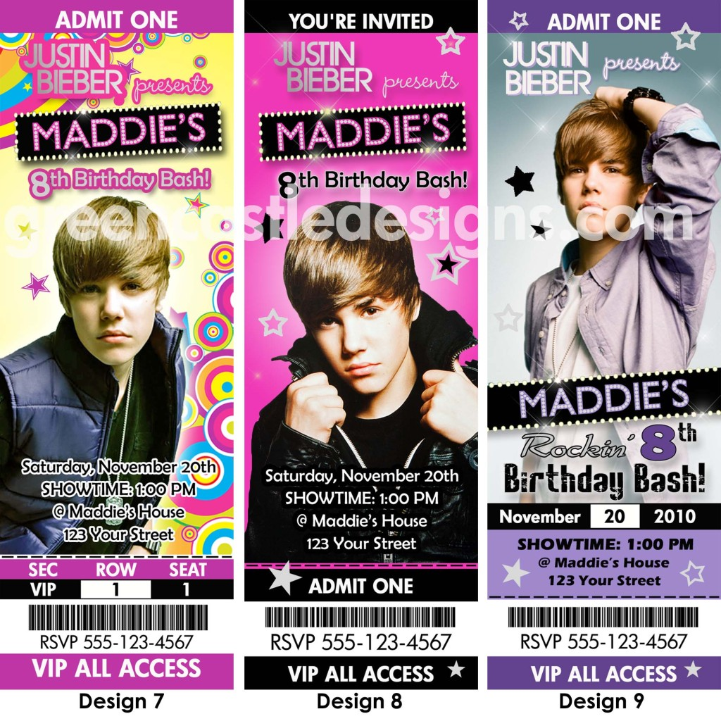 Justin Bieber Birthday Party Ticket Invitations Favors – Party Ticket Invitations