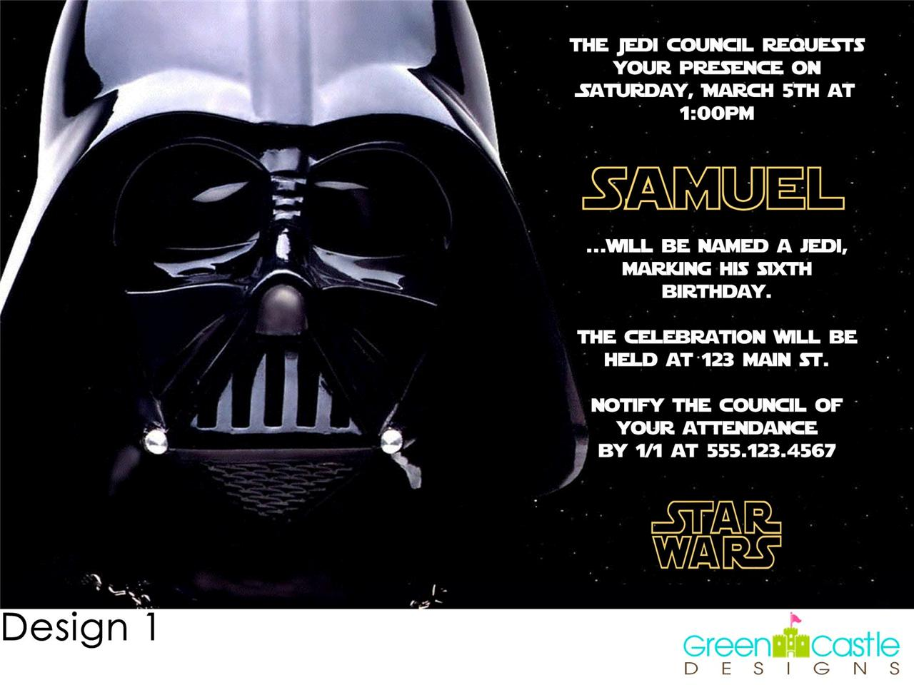 Star Wars Personalized Birthday Invitations and get inspiration to create nice invitation ideas
