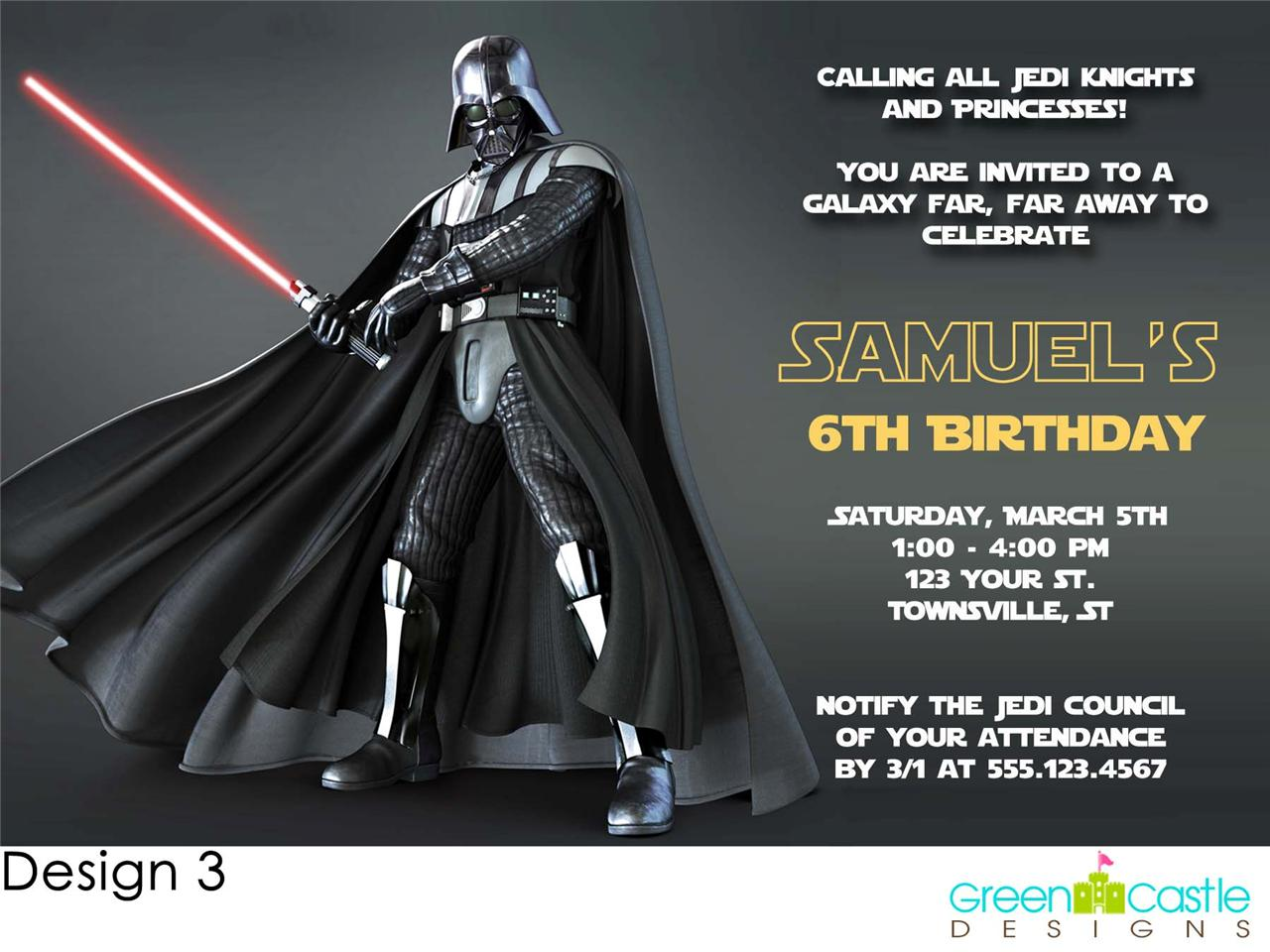 Details about 20 Star Wars Darth Vader Birthday Party Invitations