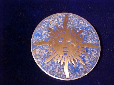 MEXICO 925 STERLING SILVER SUN MOSAIC PIN BROOCH NR