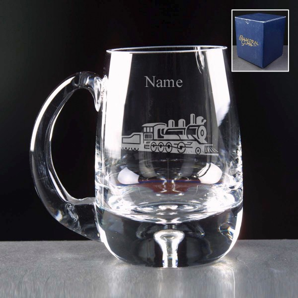 PERSONALISED-ENGRAVED-STEAM-TRAIN-BUBBLE-BASE-GLASS-TANKARD-INC-ENGRAVING-NEW