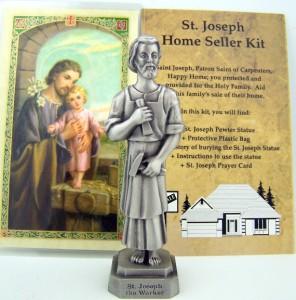 3 1 2 pewter st joseph statue home seller selling kit set saint house figurine ebay. Black Bedroom Furniture Sets. Home Design Ideas