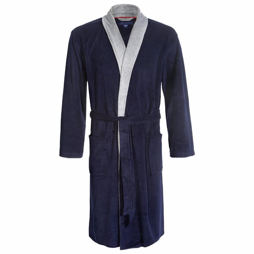 mens hilfiger terry cloth robe sleeve navy
