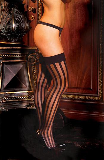 VERTICAL-STRIPE-PLAIN-TOP-Stockings-BLACK-O-S-or-PLUS
