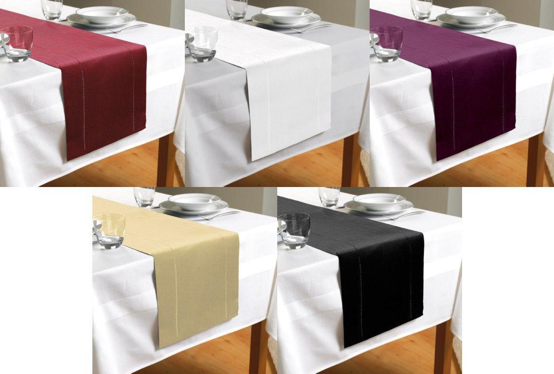 New Hem Stitch Table Cloth 132cm x 177cm,  Hem Stitch Table Runner 30cm x 180cm