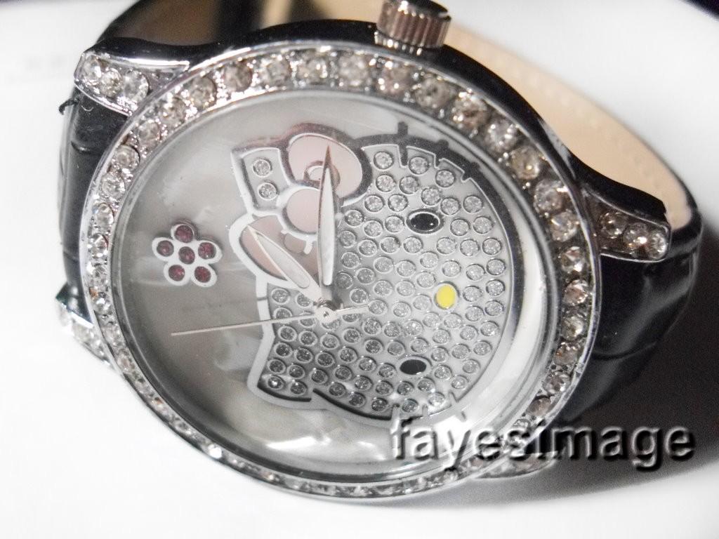Hello Kitty Crystal Quartz Wrist Watch BLACK Xmas Gift