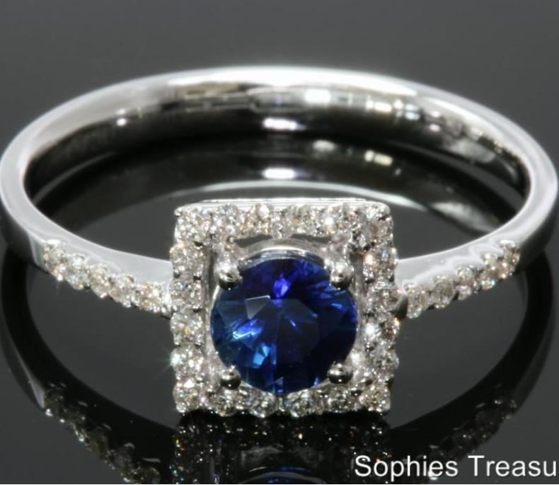 Natural Blue Sapphire Diamond Victorian Engagement Ring Solid 14K White Gold