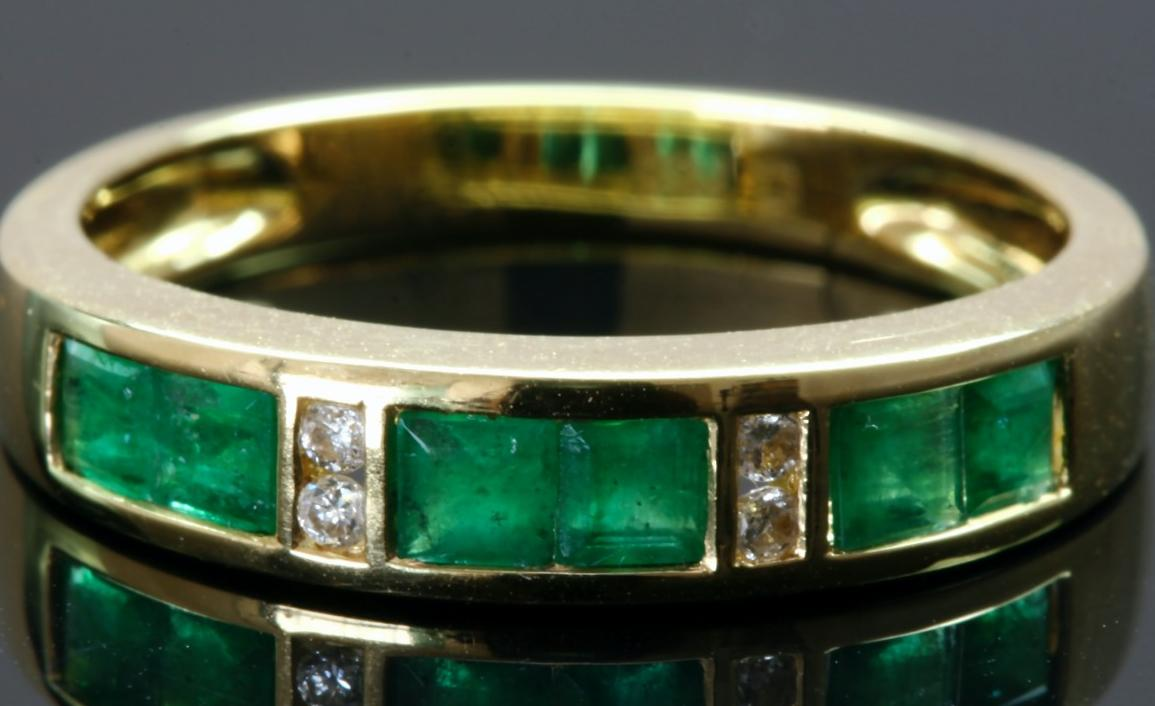 emerald anniversary band ring channel