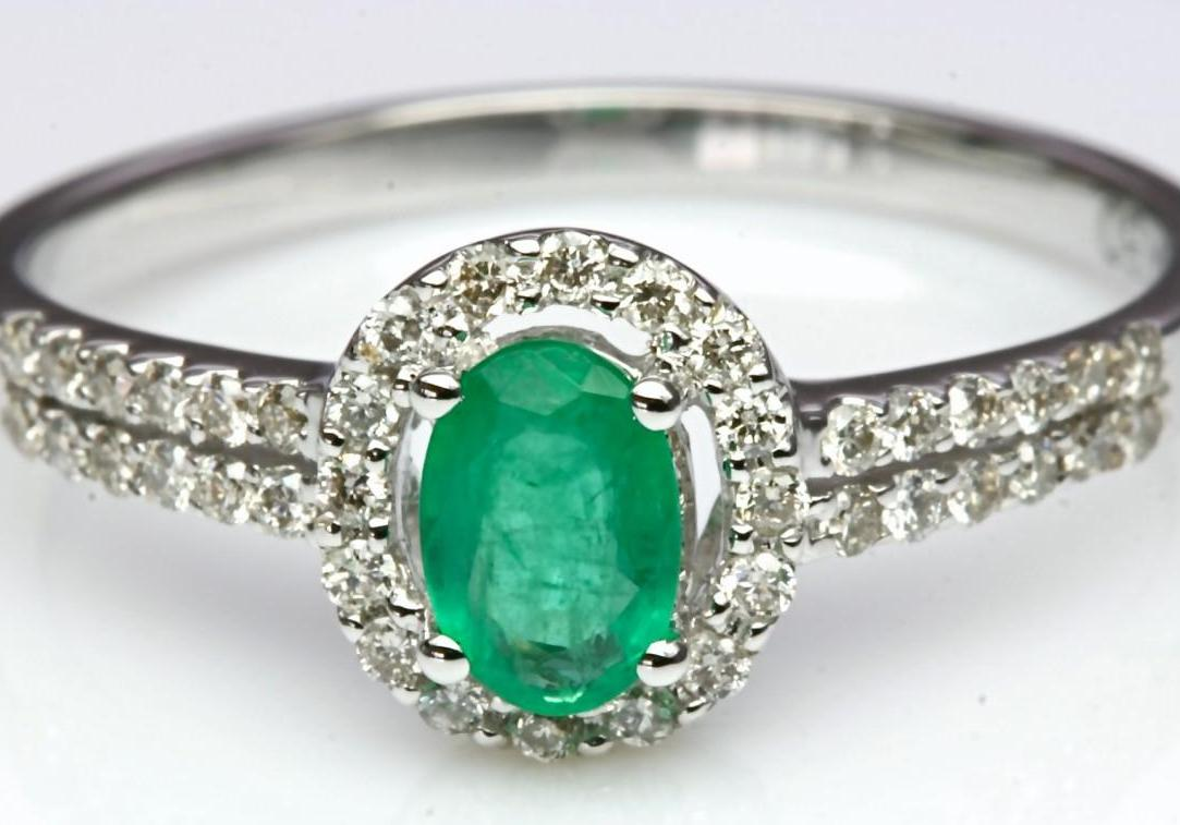 Victorian Style Natural Emerald Diamond Engagement Ring IN SOLID14K White Gol