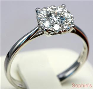 Round ideal cut diamond cluster engagement ring 18k white gold size n