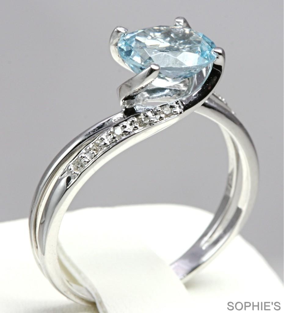 genuine aquamarine solitaire engagement ring 14k