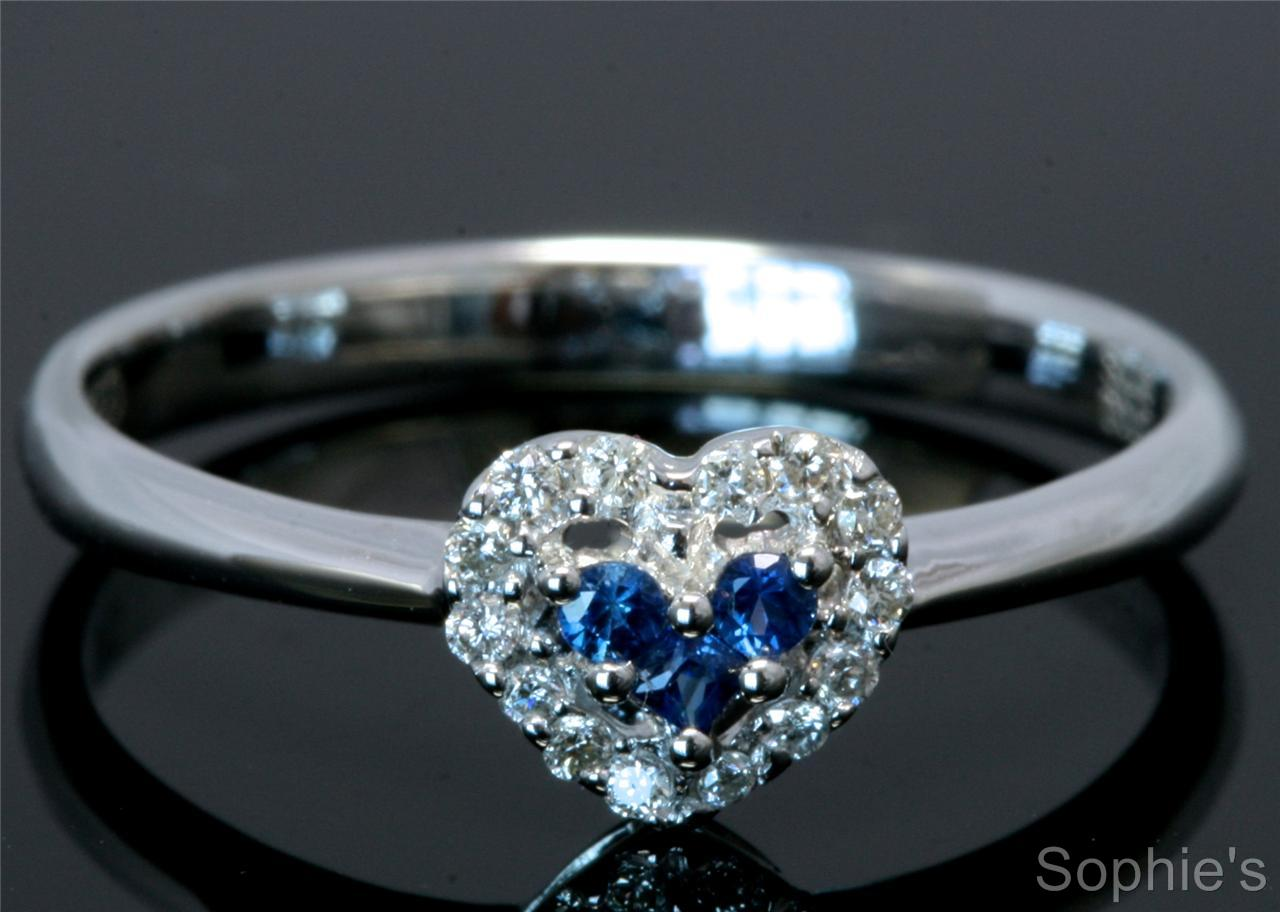 Heart Design Natural Diamond & Blue Sapphire Engagement Ring In 18K Whit
