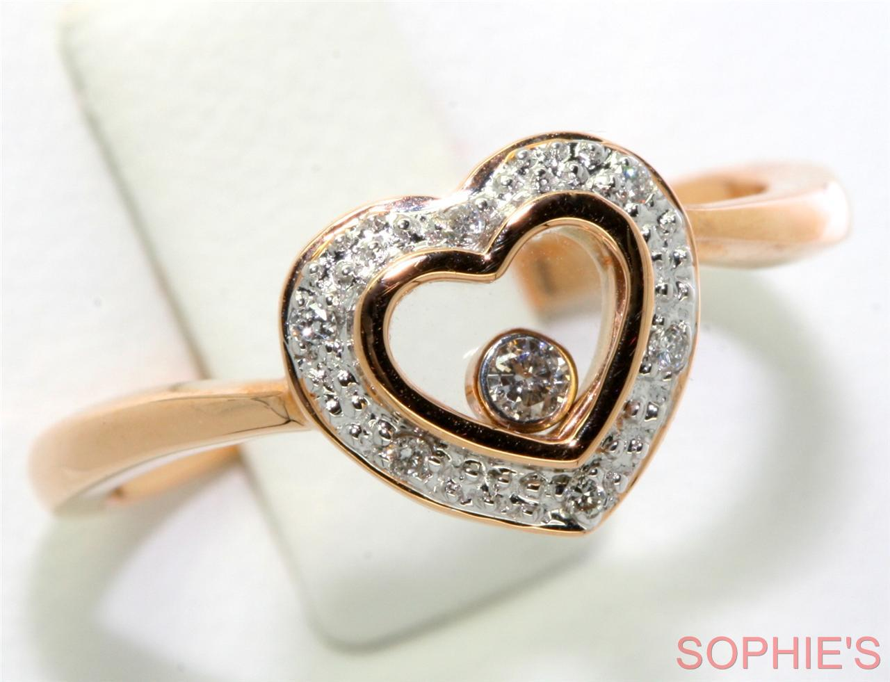 Natural Diamond 18K Rose Gold Heart Shaped Moving Stone Engagement Ring Size