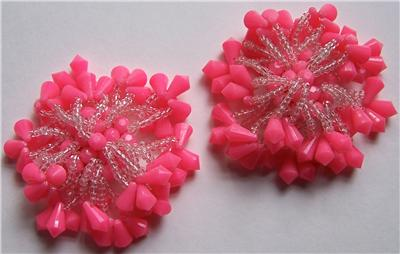 Vintage Pink Crystal Bead Charm Button Shoe Clips