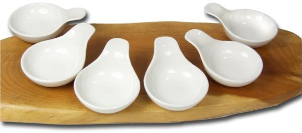 Canap spoons sauce condiment dishes round handled x6 ebay for Canape spoons uk